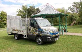 Work van decorated in flowery vinyl.