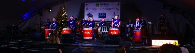 Drummers on stage. Christmas