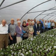 Group of people in greenhouse in front of hundreds of plants.
