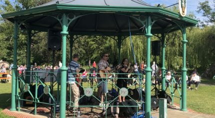 Band playing music in a bandstand