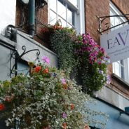 Hanging baskets and business sign on side of building