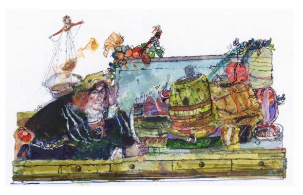 Watercolour of a merchant