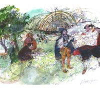 Watercolour of men looking at a plan