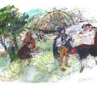 Watercolour of men looking at a plan