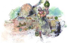 Watercolour of a Roman potter