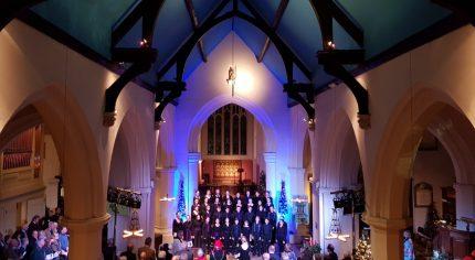 Interior of church, congregation and choir
