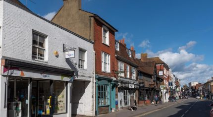 Row of shops in town centre.