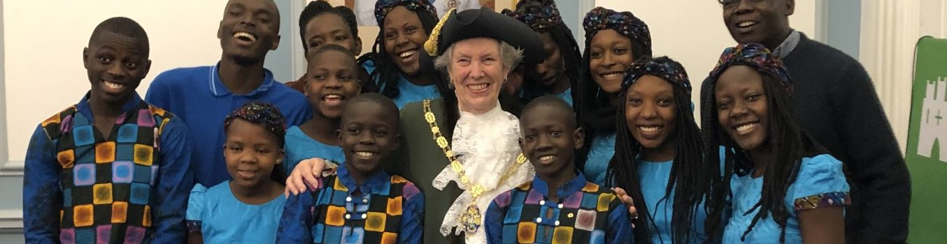 Group of young people with the Mayor of Farnham