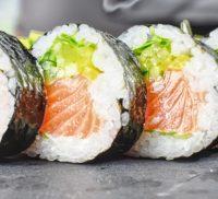 Four slices of fresh sushi