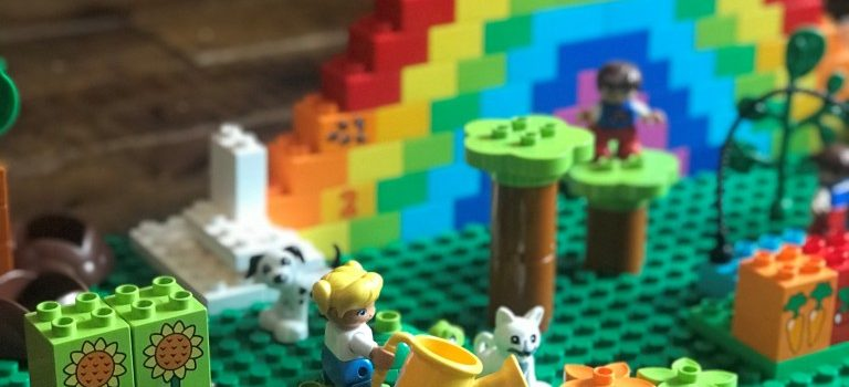 Rainbow lego and garden