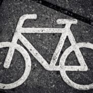 Symbol of a bike painted on the pavement