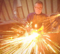 Blacksmith at work. Fire