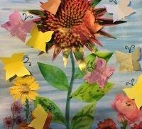 A piece of artwork featuring butterflies
