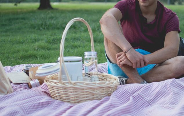 Man in a park having a picnic