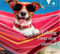 Dog wearing sunglasses on the front cover of a magazine