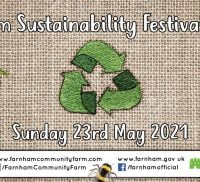 Embroidered symbols on hessian to promote the Sustainability Festival