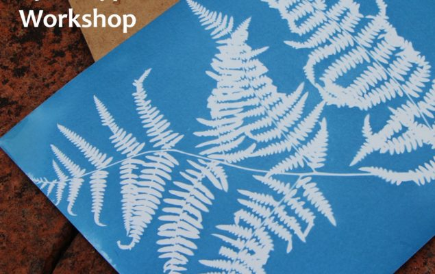 A photo of a fern as a Prussian blue print using the cyanotype process