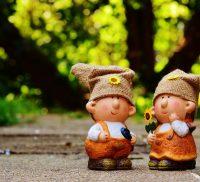 Pair of garden gnomes.