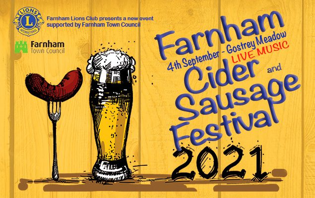 Event poster with illustrations of a pint of cider and a sausage