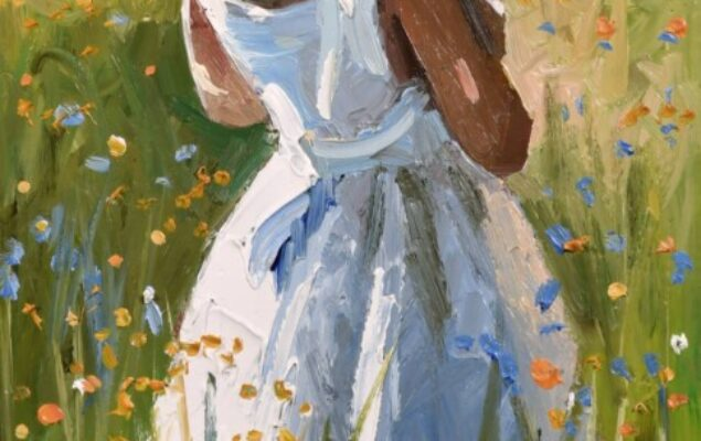 Girl standing with her back facing in a white dress and a straw hat with a pink ribbon attached, in a field of flowers
